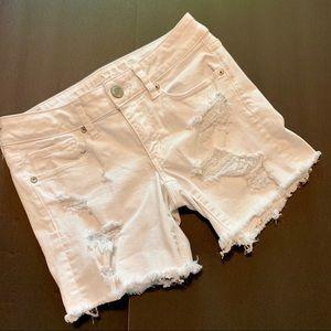 American Eagle Midi White Distressed Jean Short